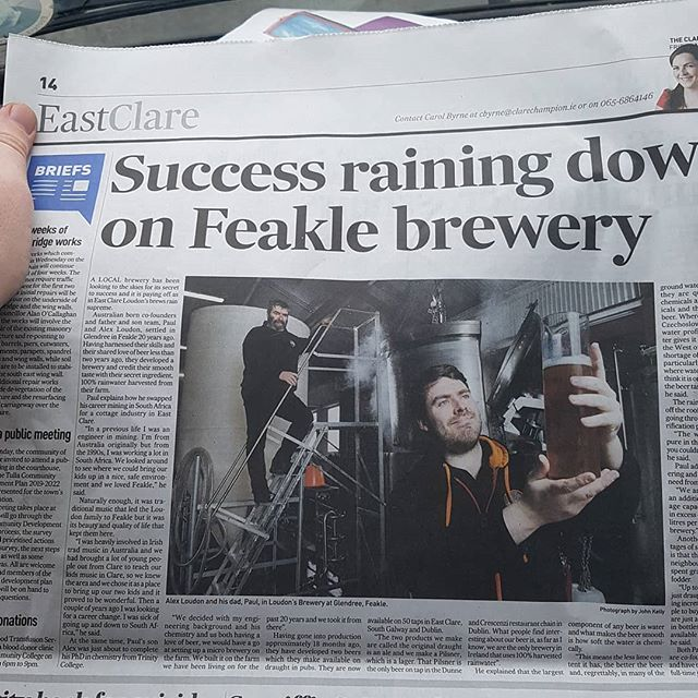 Great article in the clare champion today. Huge thanks to John Kelly for the amazing photo! Turns out brewing with rainwater is quite unique!