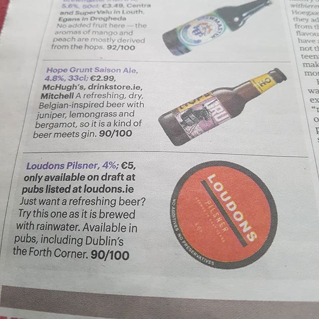 Delighted that Loudons Pilsner was featured in The Sunday Times last month by Martin Moran! Cheers!