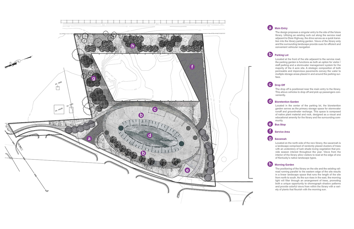 Site Plan illustrating programming of outdoor spaces and features.