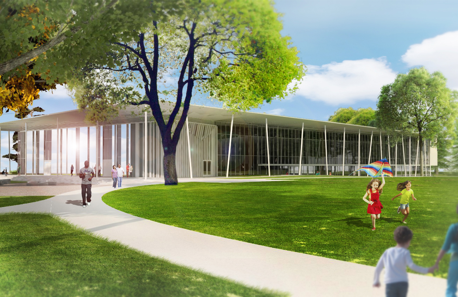 "Rendering illustrating the ""maker space"" and ""porch"" along the southern façade of the building, facing the existing open lawn space positioned for community gathering, play, and contemplation."