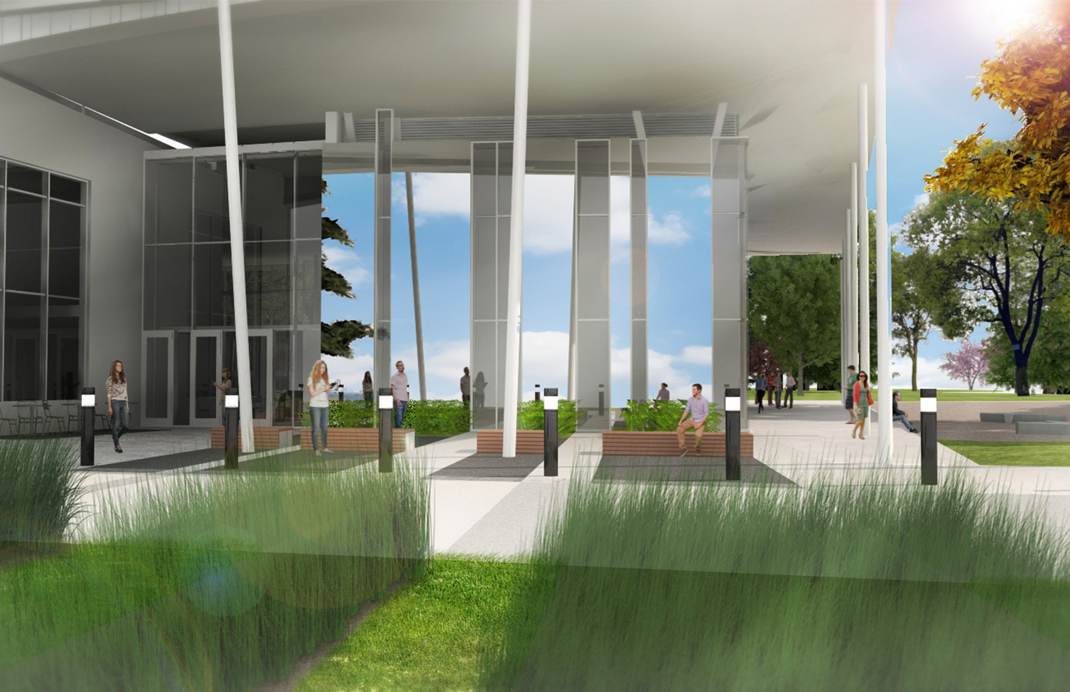 Rendering of the library entry, drop off, and maker space under the canopy of the pavilion overhang.