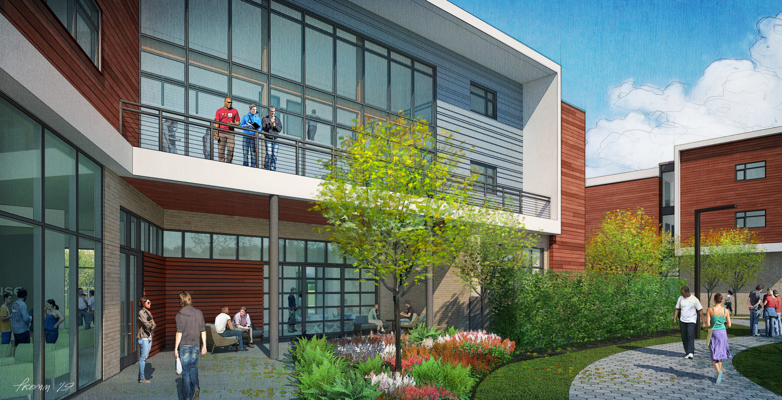 The first Sober Living building (under construction) will house 56 beds and ground floor amenities – work out facility, group counselling rooms, a coffee bar, and a spiritual/tranquility retreat.  Rendering: Champlin Architecture