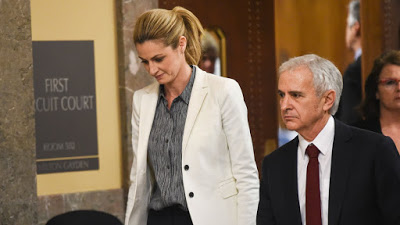 Erin Andrews and her hotshot attorney, Bruce Broilett, on the last day of trial.