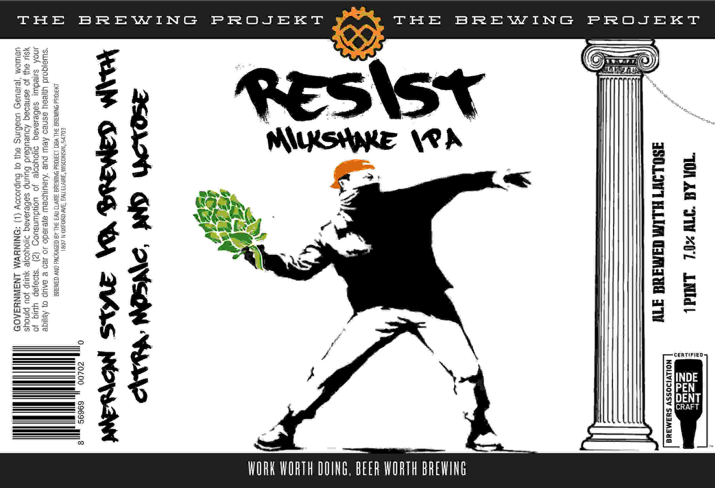 RESIST - Our first stab at a milk shake IPA brewed with Lactose for a nice smooth body with residual sweetness and hopped with CITRA and MOSAIC!
