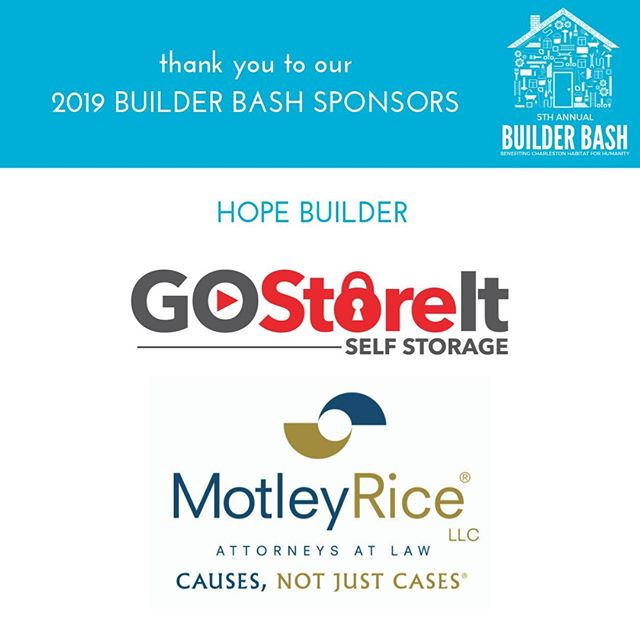 Feeling grateful this Thursday thanks to our friends at Go Store It & Motley Rice who have charitably partnered with us as Hope Builders for the upcoming Builder Bash. Thanks for another year of support as we build homes, communities and hope in The Lowcountry! #builderbash