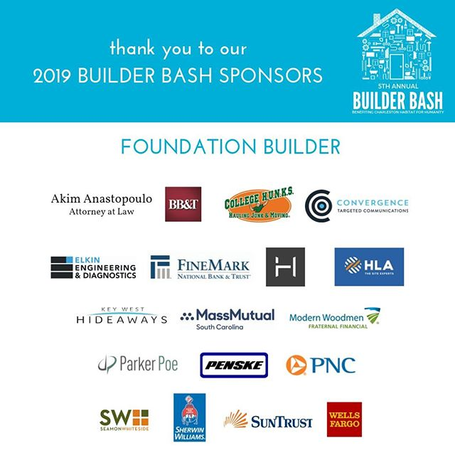 We are lucky to have such wonderful community partners! All of these Builder Bash sponsors are helping us build a foundation for affordable housing.  #builderbash #chashabitat #funforacause #charlestonevents