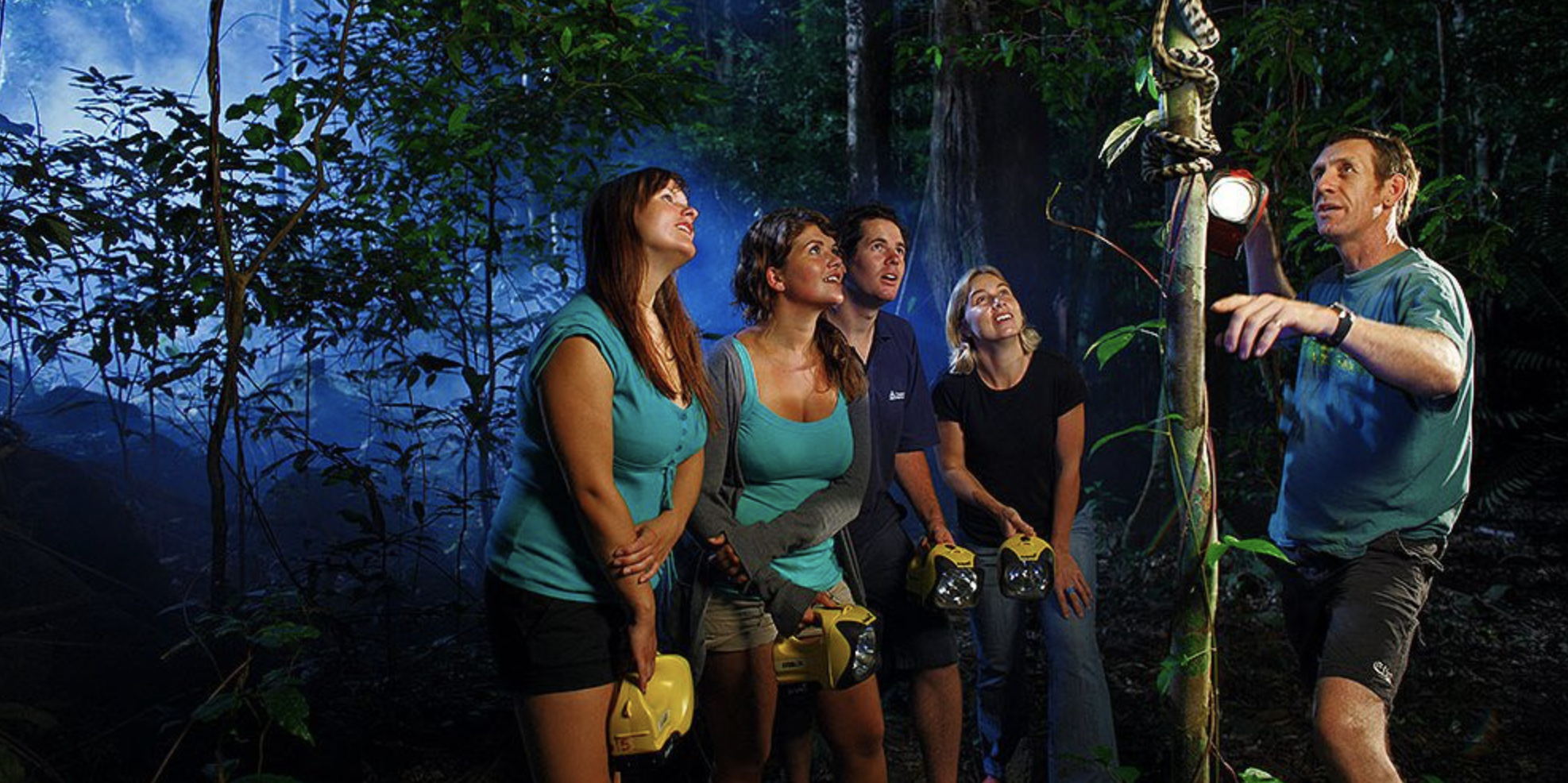 Jungle Adventure Night Walk - $34.63/ppAt Jungle Adventures they don't need to build you a time machine; they'll just give you a torch and take you to a world little changed in 120 million years! There are no sounds of the city, just inky blackness and the pulse of the rainforest as it chirps, trickles, rustles and breathes.The small group interpretive tours take a maximum of eleven people per guide deep into our ancient forest to experience the nocturnal world. It's a singing, bustling world, far removed from man's dominance over the earth, and they'll introduce you to a weird and wonderful cast of characters who live together to create this grand circle of life.In addition to our frequent sightings of sleeping birds and rainforest dragons, they regularly encounter forest mammals including bats and possums, many species of spiders and insects plus beautiful snakes including amethystine and carpet pythons and brown tree snakes.