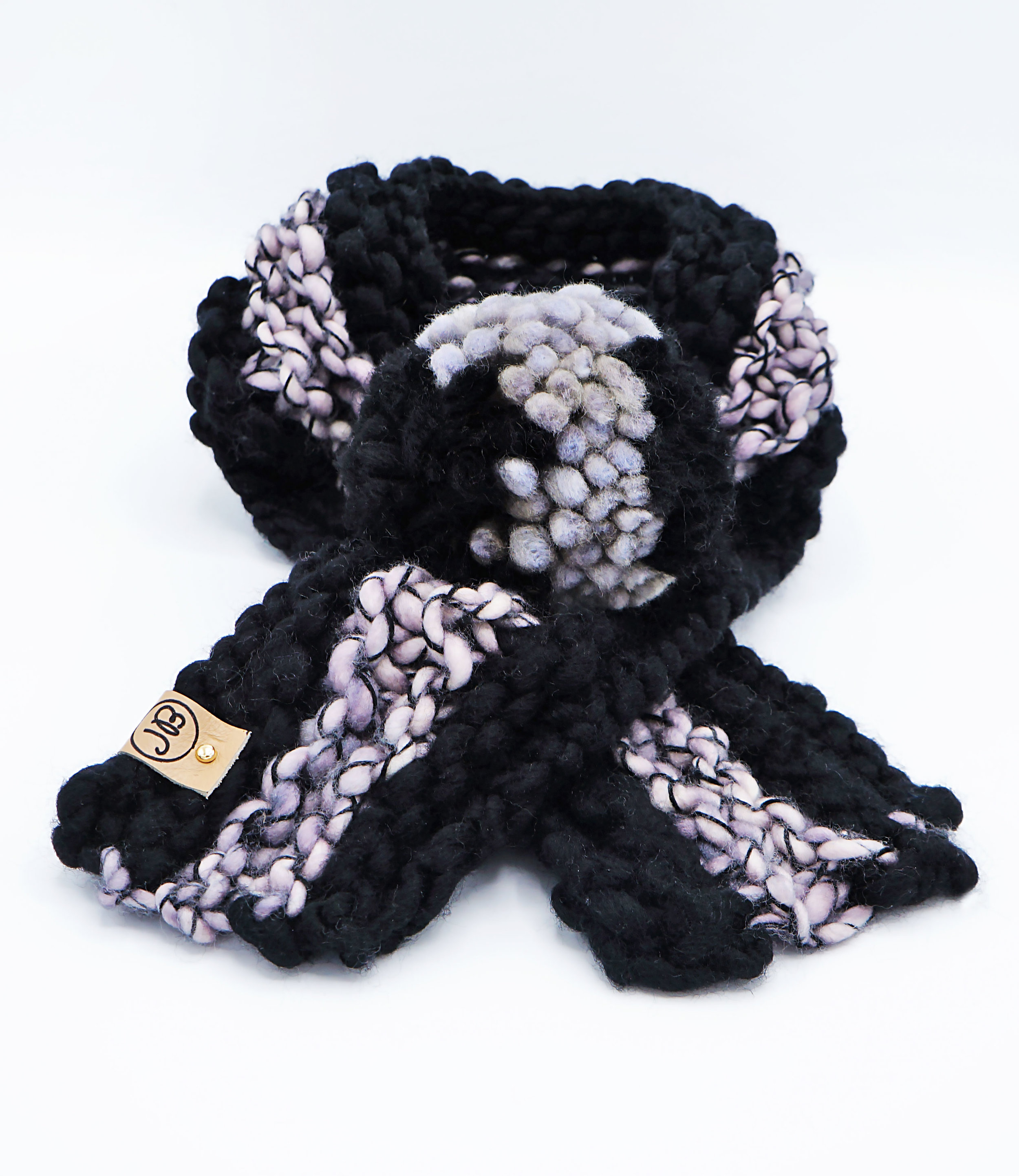 Puppy Scarf   Black & Pearl   Large $55