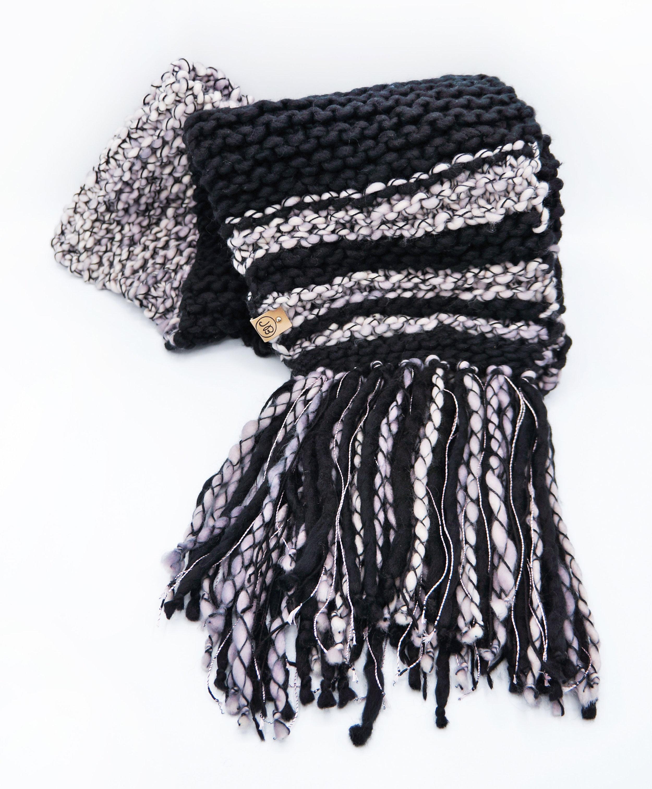 Fringed Scarf   Black & Pearl $165.00