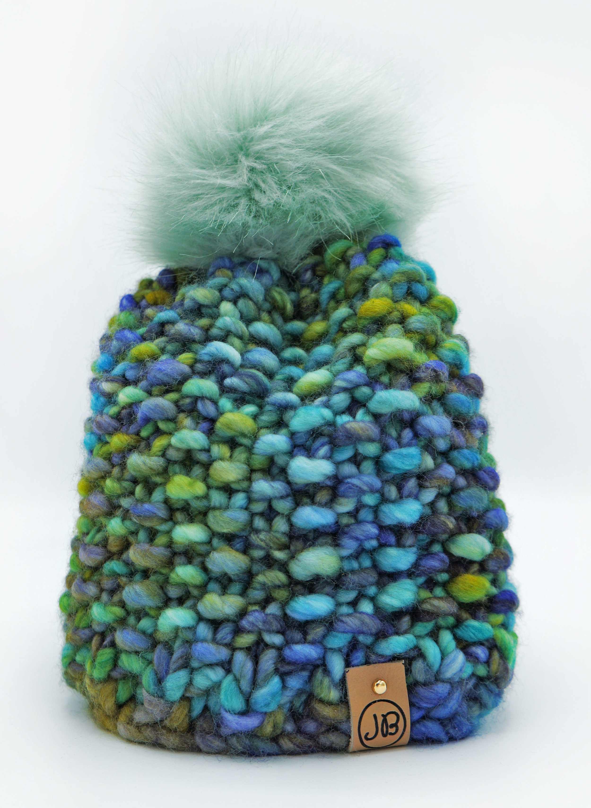 Kid's Beanie with Detachable Pompom Green & Black [6 Months] $65.00
