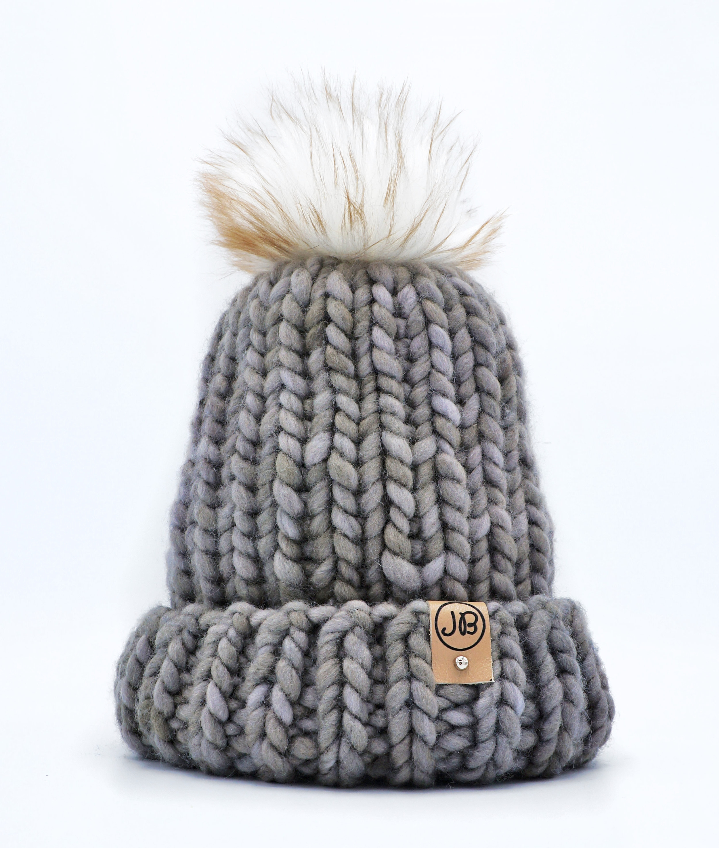 Kid's Winter Hat with Detachable Pompom Gray [2 Year] $65.00