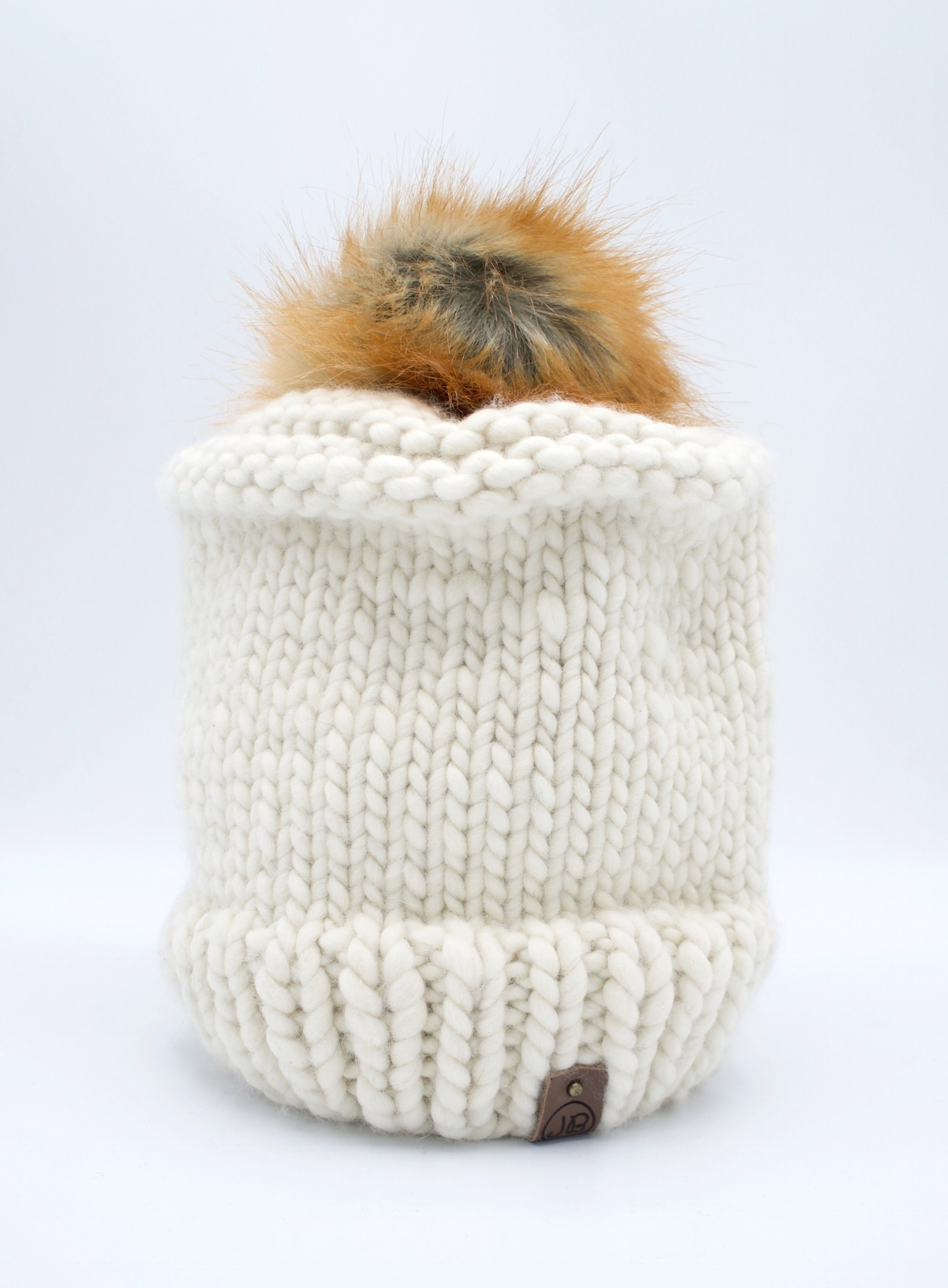 Chic Winter Hat with Detachable Pompom Natural Caramel $125.00