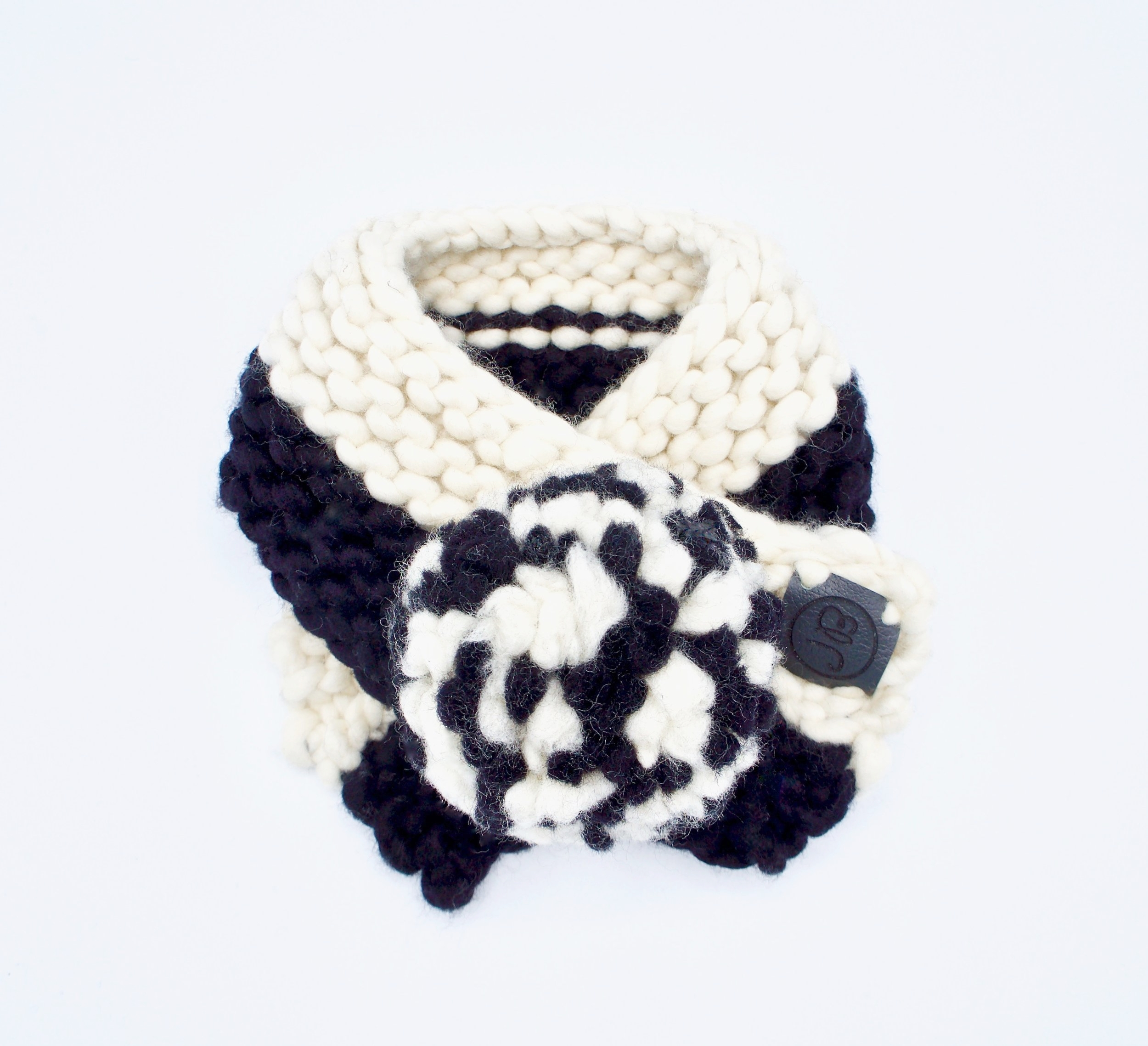 Puppy Scarf   Black & Natural   Small $55