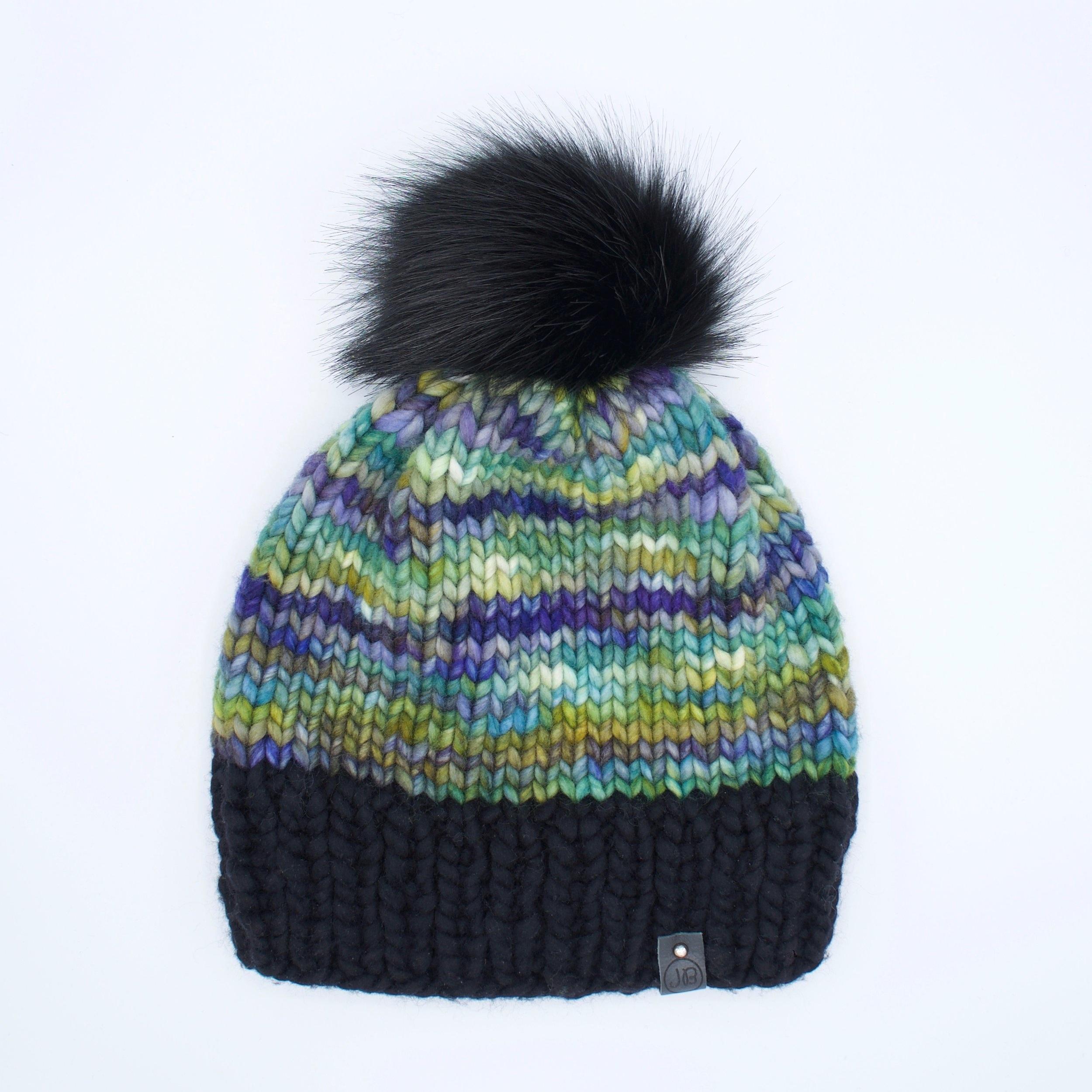 Beanie Hat with Detachable Pompom Black, Green & Purple $115.00