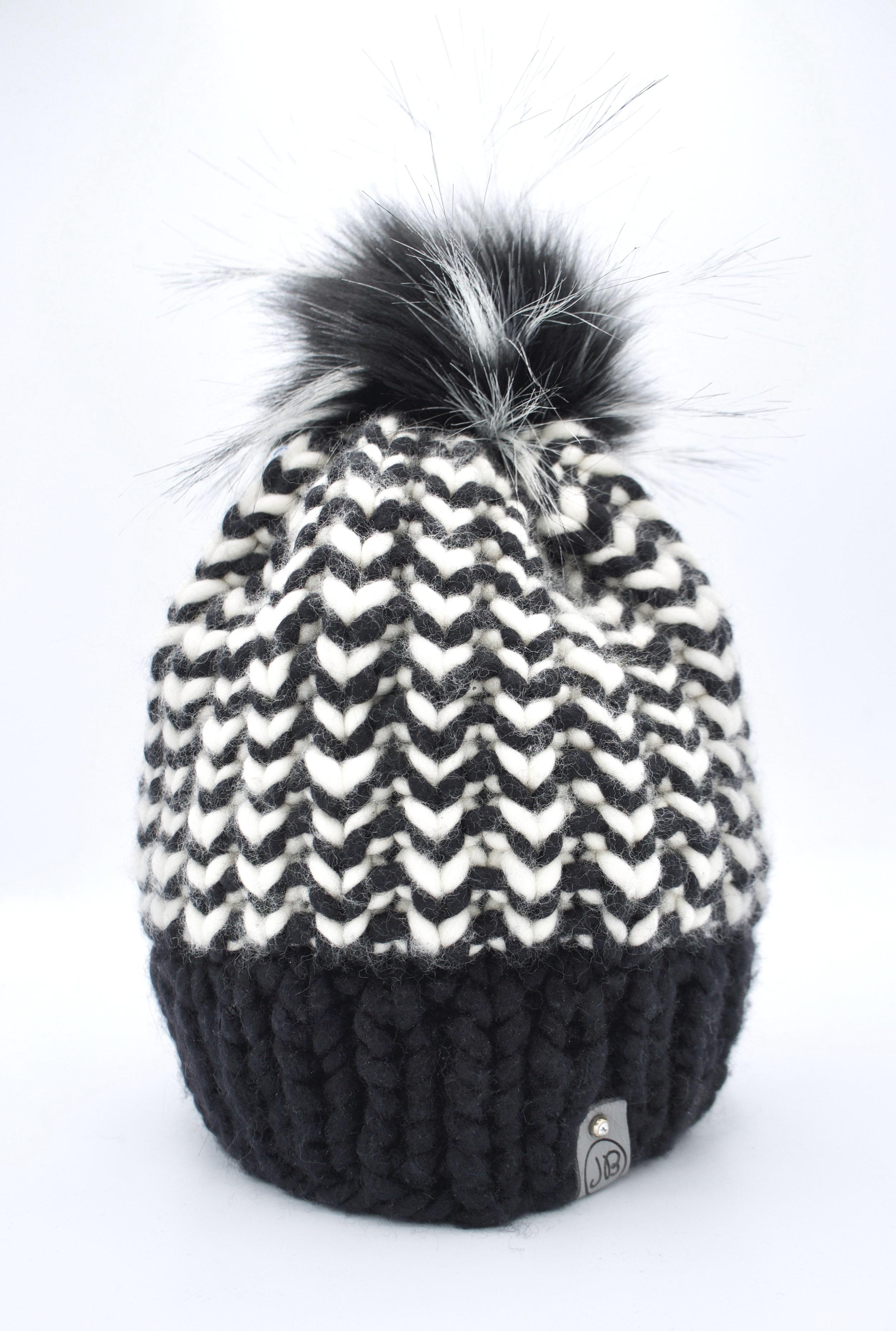 Beanie Hat with Detachable Pompom B&W Zig $115.00
