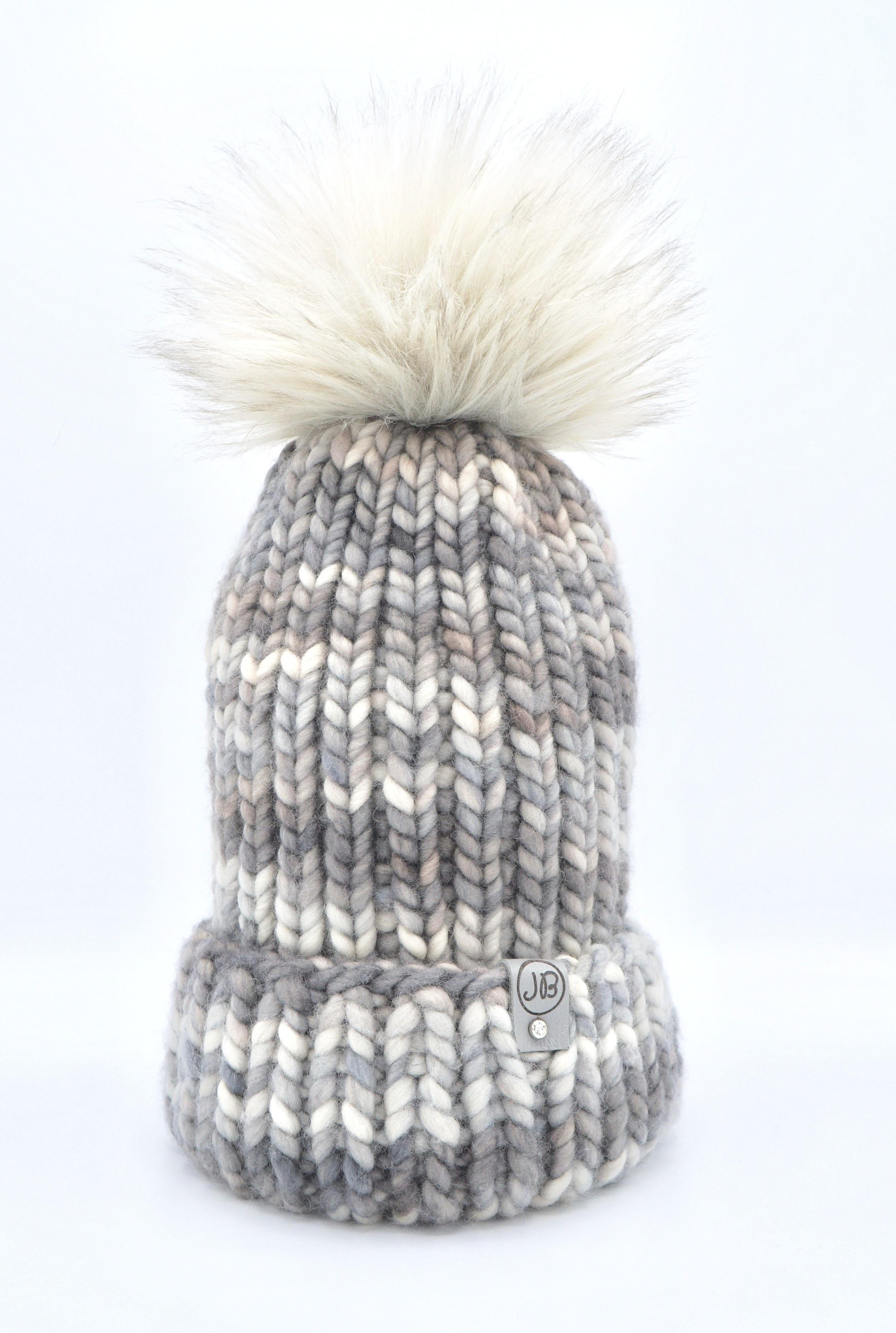 Winter Hat with Detachable Pompom Gray $125.00