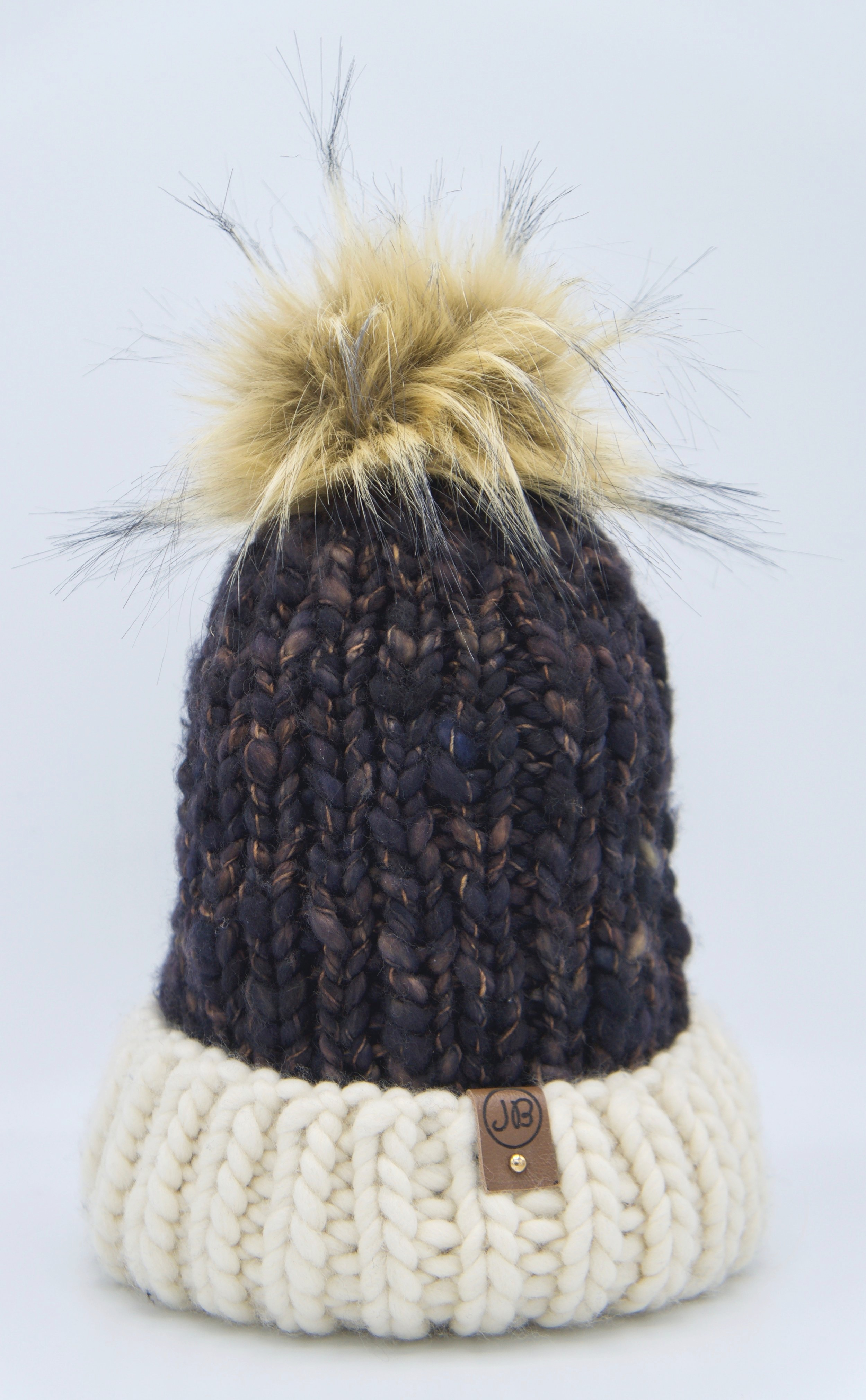 Winter Hat with Detachable Pompom Maroon & Natural $125.00