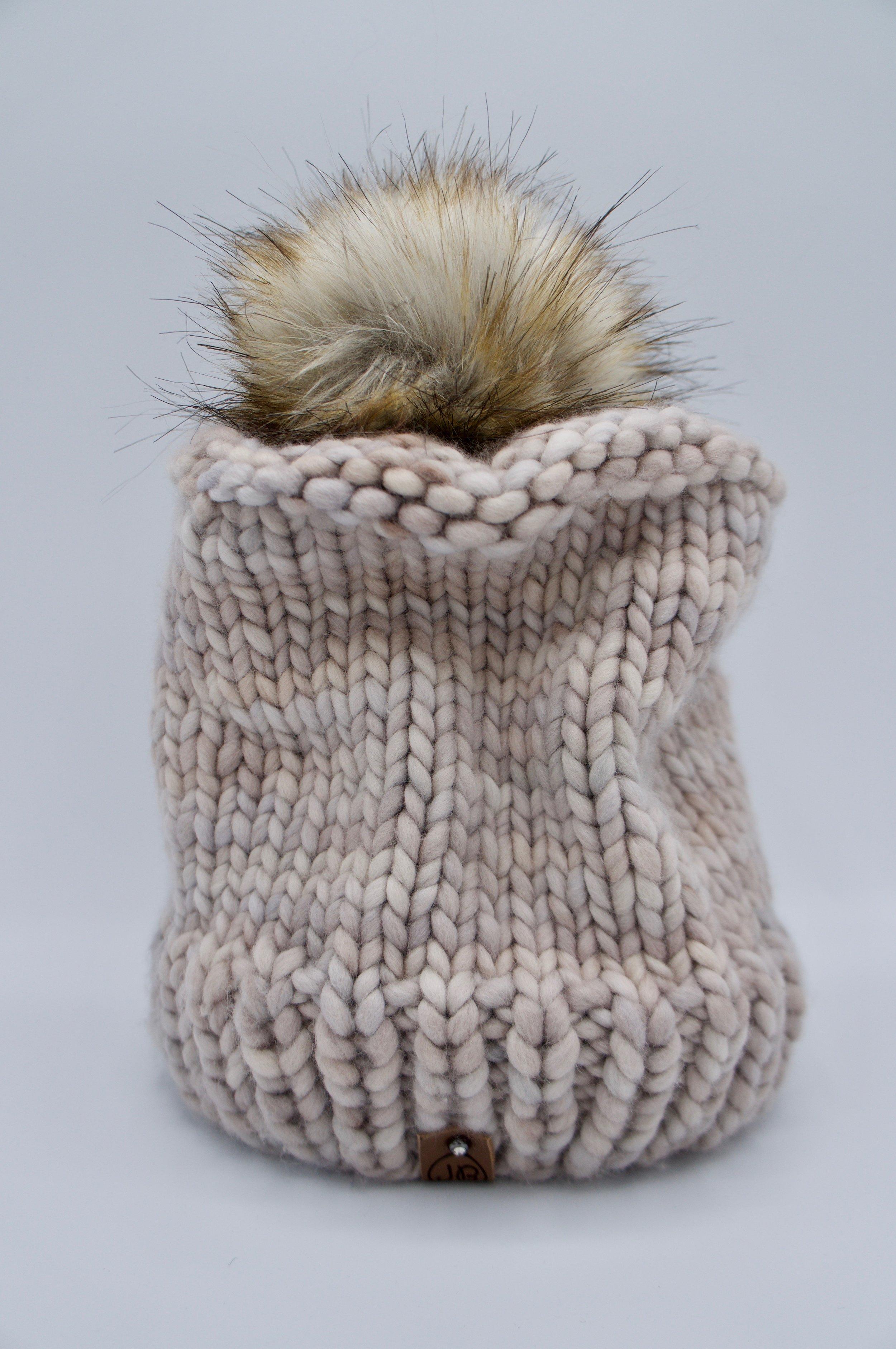 Chic Winter Hat with Detachable Pompom Whole Grain $125.00