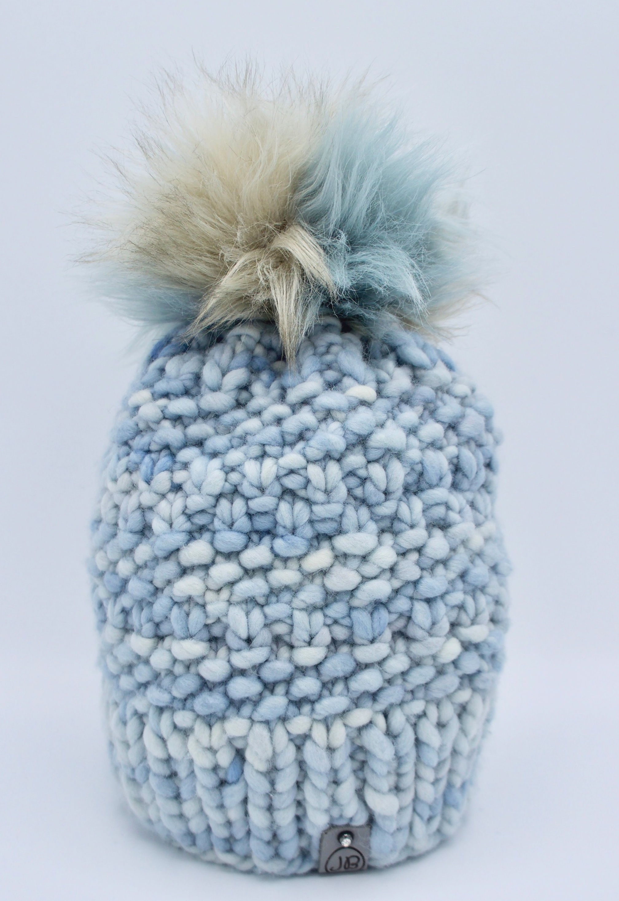 Beanie Hat with Detachable Pompom Baby Blue $115.00
