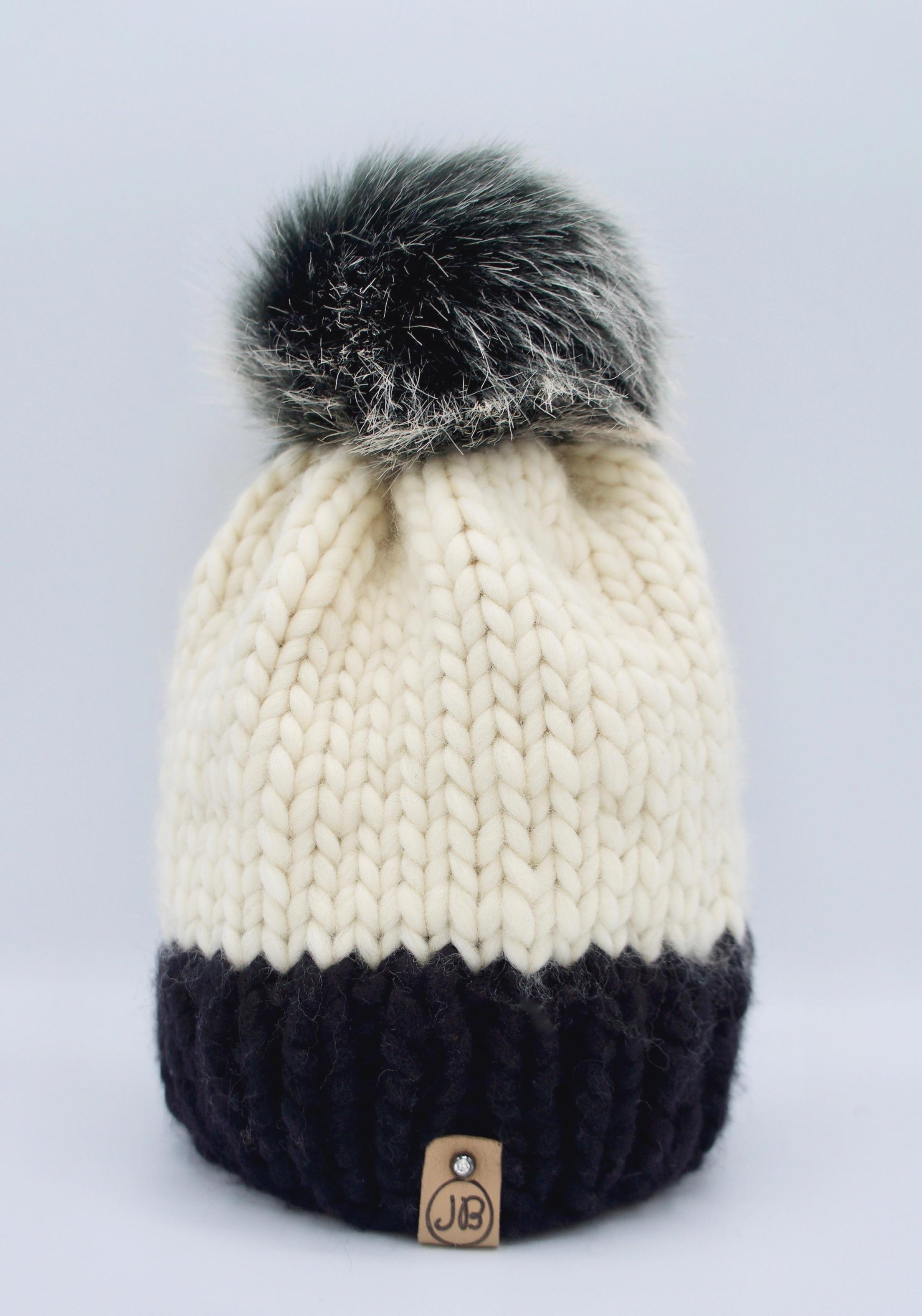 Beanie Hat with Detachable Pompom Natural Caramel & Black $115.00