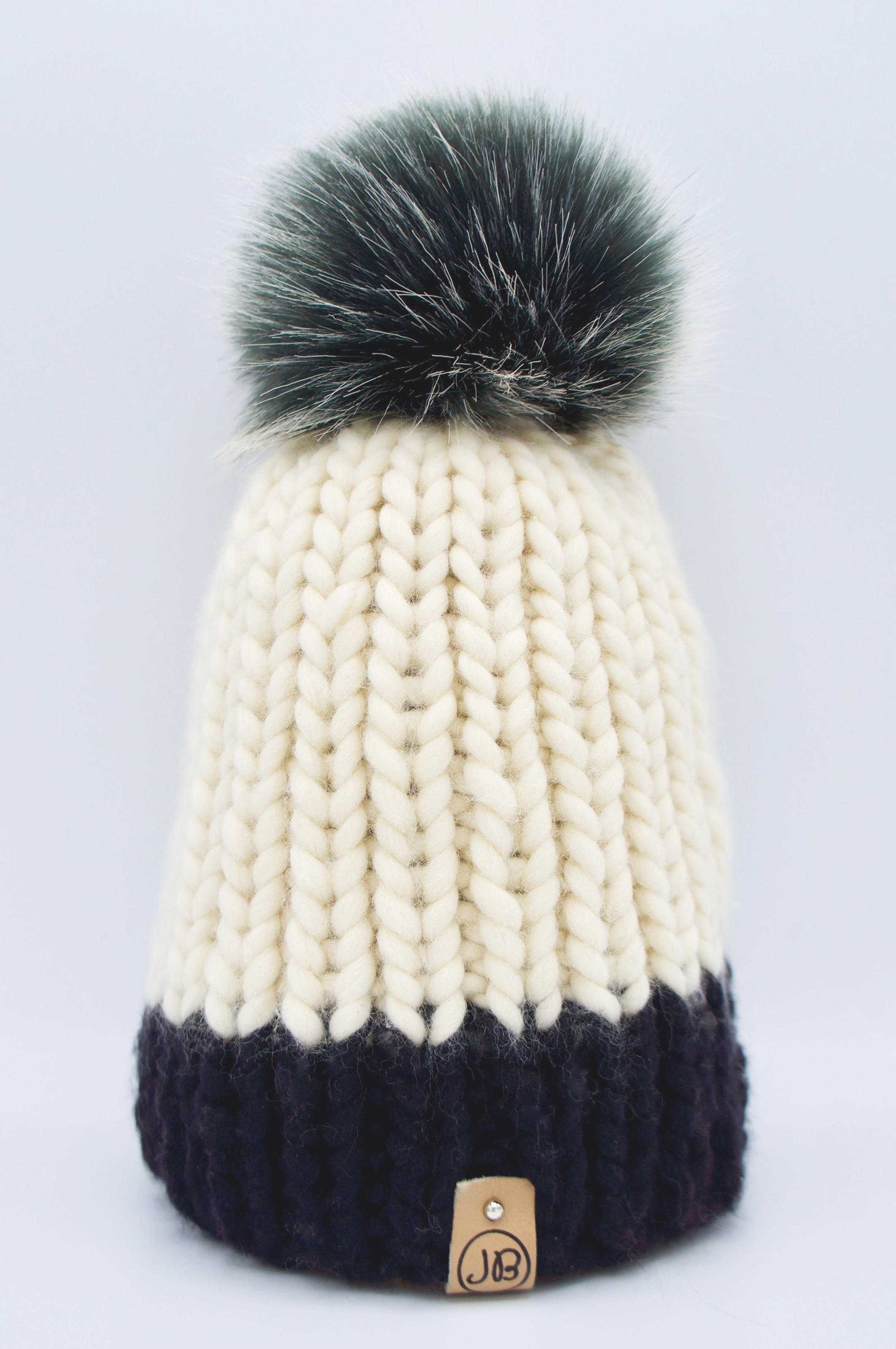 Kid's Beanie with Detachable Pompom Natural Caramel & Black [6 Years] $65.00