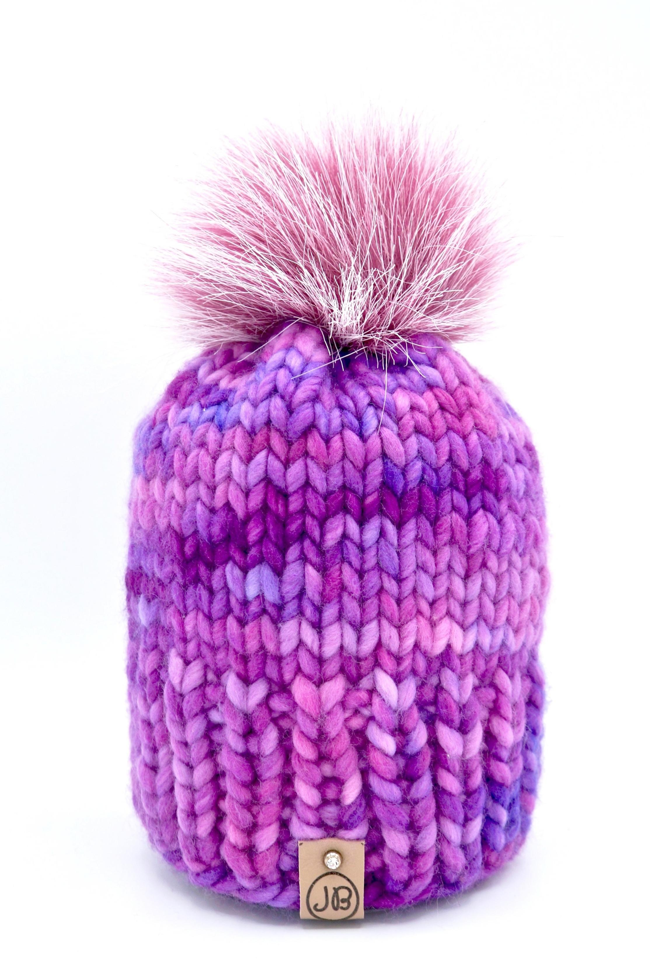 Kid's Winter Hat with Detachable Pompom Dark Pink & Purple w/ Pink Pompom $65.00