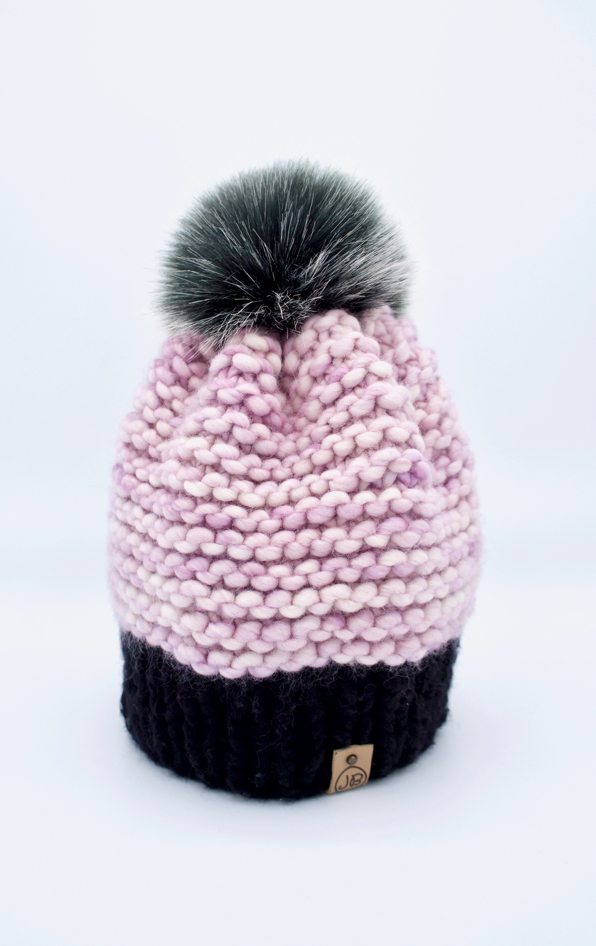 Beanie Hat with Detachable Pompom Black & Baby Pink $115.00