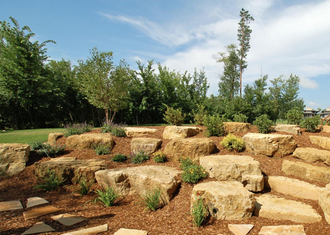 limestone boulder retaining walls