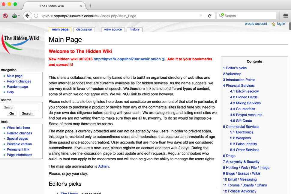 The Main Page of The Hidden Wiki.