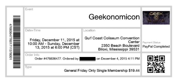 """Ticket to """"Geekonomicon"""""""