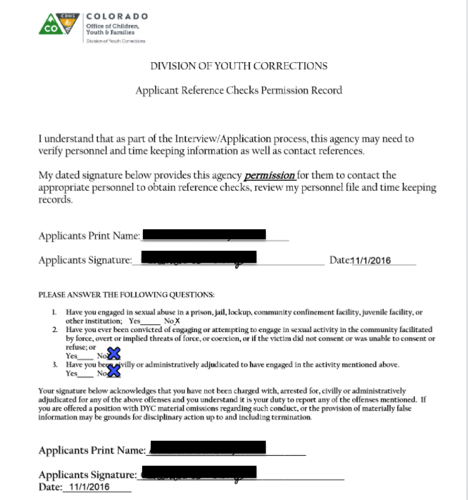A Colorado court's Division of Youth Corrections Reference Check form, with the minor's name and signature (redacted)