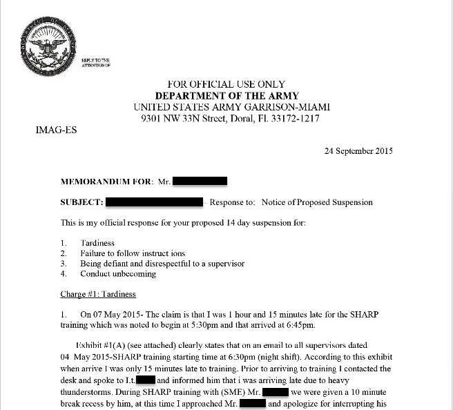 An appeal from a U.S. Army Sergeant after being suspended for numerous claims, which she refutes in this document
