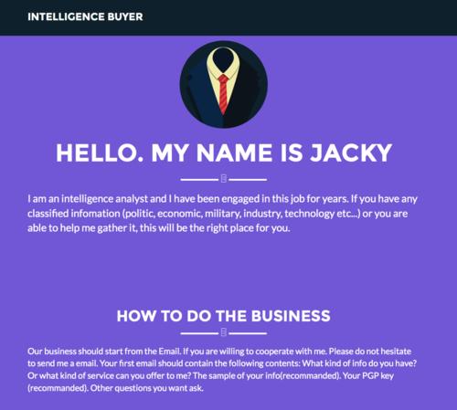 The darknet site Intelligence Buyer.