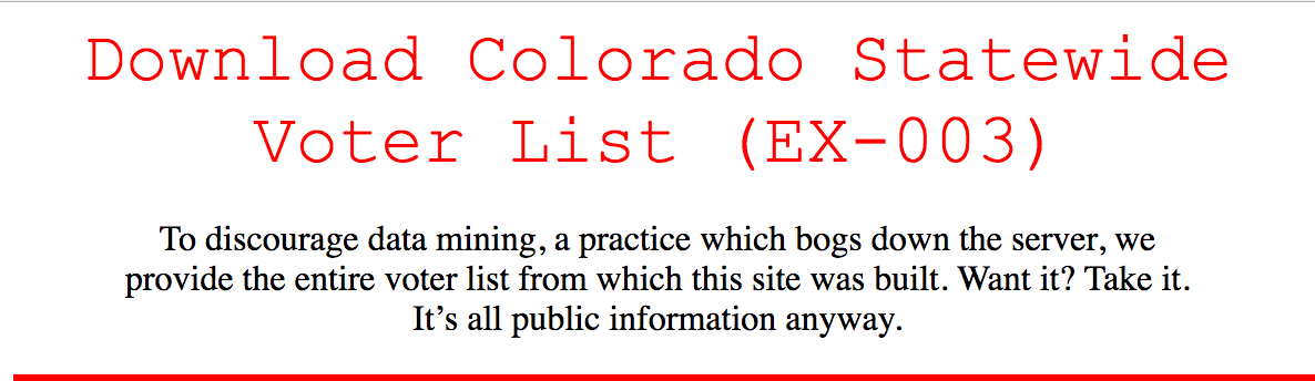 A screenshot from coloradovoters.info, a publicly accessible surface website.