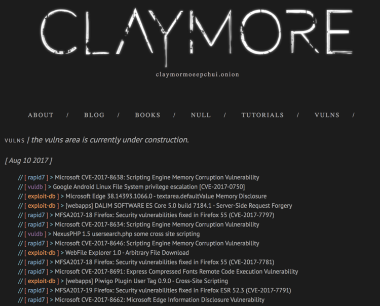 Sample Tor site with  Hackers content that is updated regularly (http://claymormoeepchui.onion/).