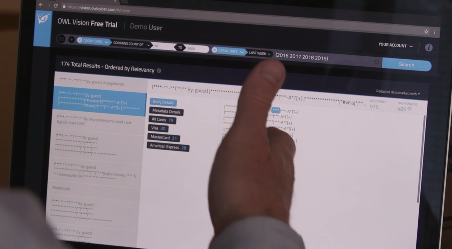 OWL Cybersecurity CEO Mark Turnage demos the OWL Vision darknet big data platform for The Denver Post.