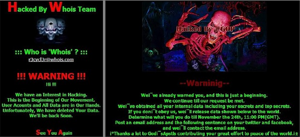 State-sponsored hacking groups WhoIs and GoP warning pages