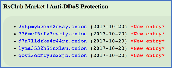 Figure      SEQ Figure \* ARABIC    2:       RsClub Acquires 5 new hidden service URLs to Counter DDoS