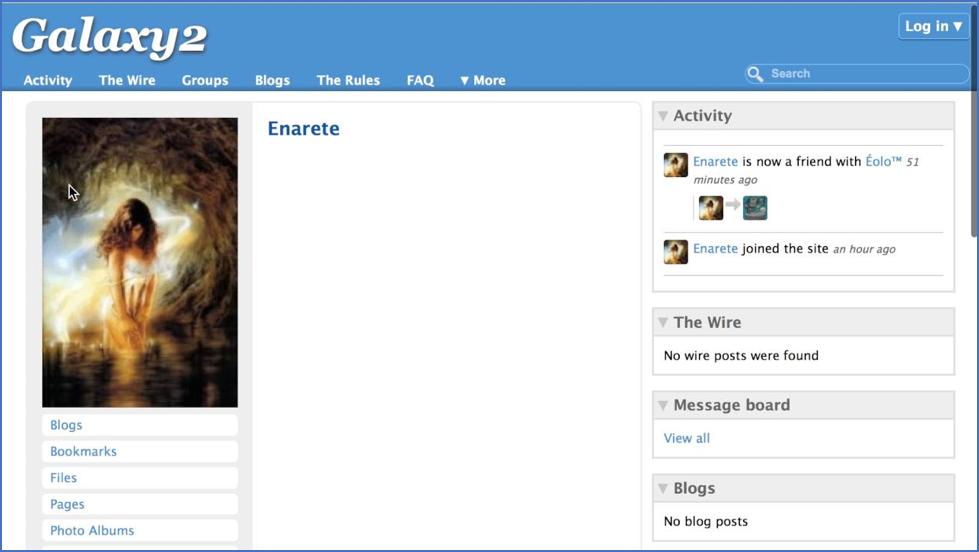 Figure      SEQ Figure \* ARABIC    3 -Sample Galaxy2 Profile Page