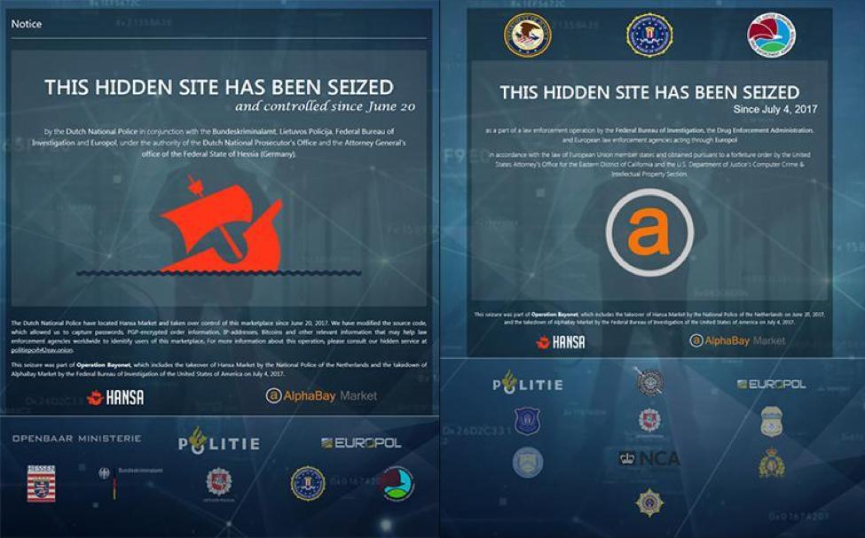 Seizure Sites for Hansa and AlphaBay Darknet Markets