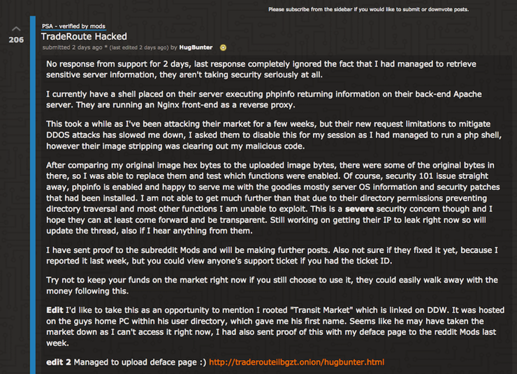 HugBunter's post regarding TradeRoute Hack