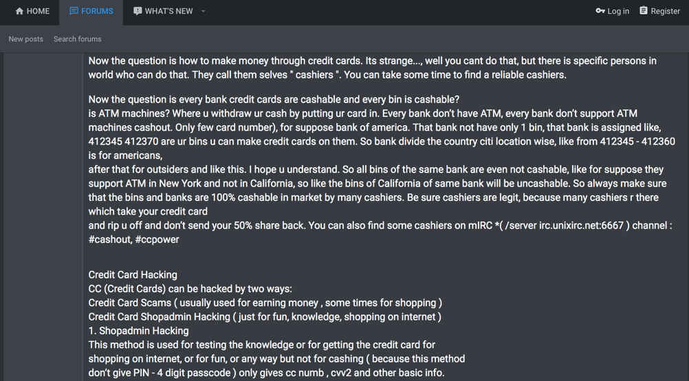 """Figure       SEQ Figure \* ARABIC     1       Discussion on Finding """"Cashiers"""" on IRC on a Popular Carding Forum"""