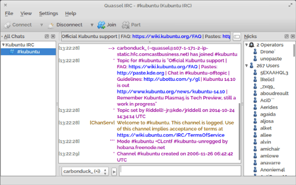 Figure       SEQ Figure \* ARABIC     3       Quassel Application Sample IRC