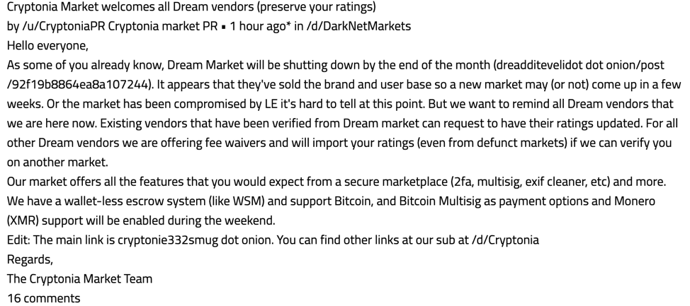 A post from Cryptonia Market, offering fee waivers and other incentives to verified Dream Market vendors. (Image via DarkOwl Vision)