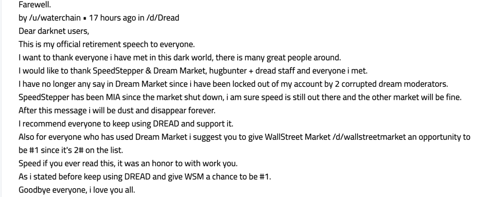 Retirement message by former Dream Market moderator Waterchain. (Image via DarkOwl Vision)