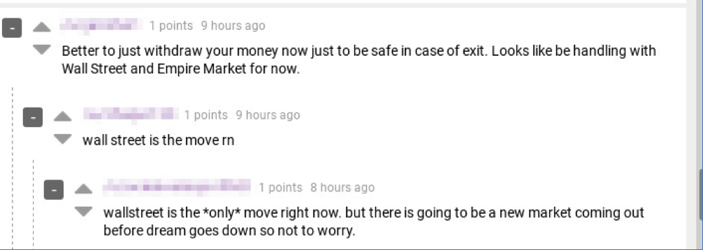 Figure 3 Dread users discuss WSM as the Dream alternative for trading.