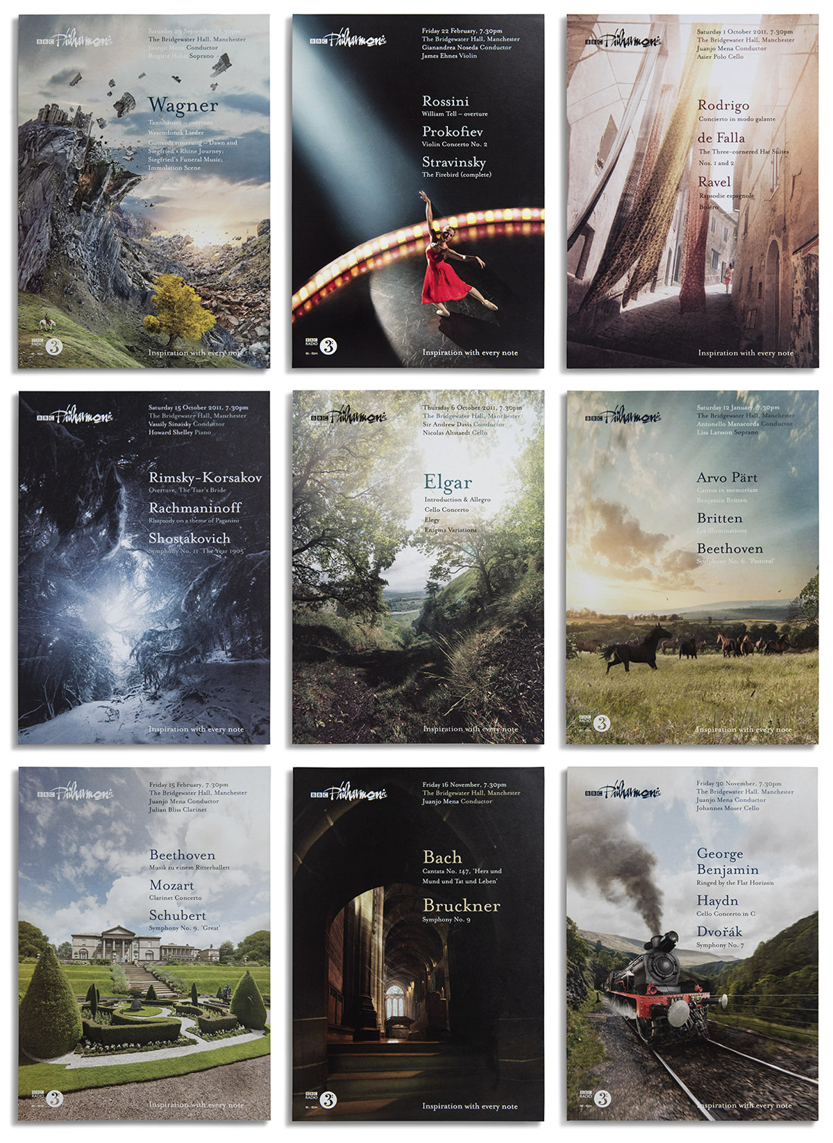 A selection of photographs created for concert posters to promote the BBC Philharmonics 2011-2013 seasons