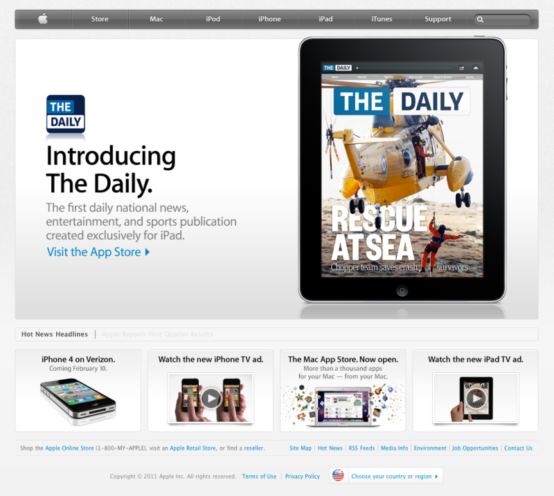News Corp - Remember The Daily? It was News Corp's hyped newspaper for the iPad. Though it was short-lived, we did a lot of great work that is being replicated even today.In 2011, I led a small band of misfits and created the first annual Gift and Gadget Guide that garnered a lot of praise and even snagged the coveted Editor's Choice award on the App Store.(If you're interested in what it was like to launch The Daily, you can read my account here.)