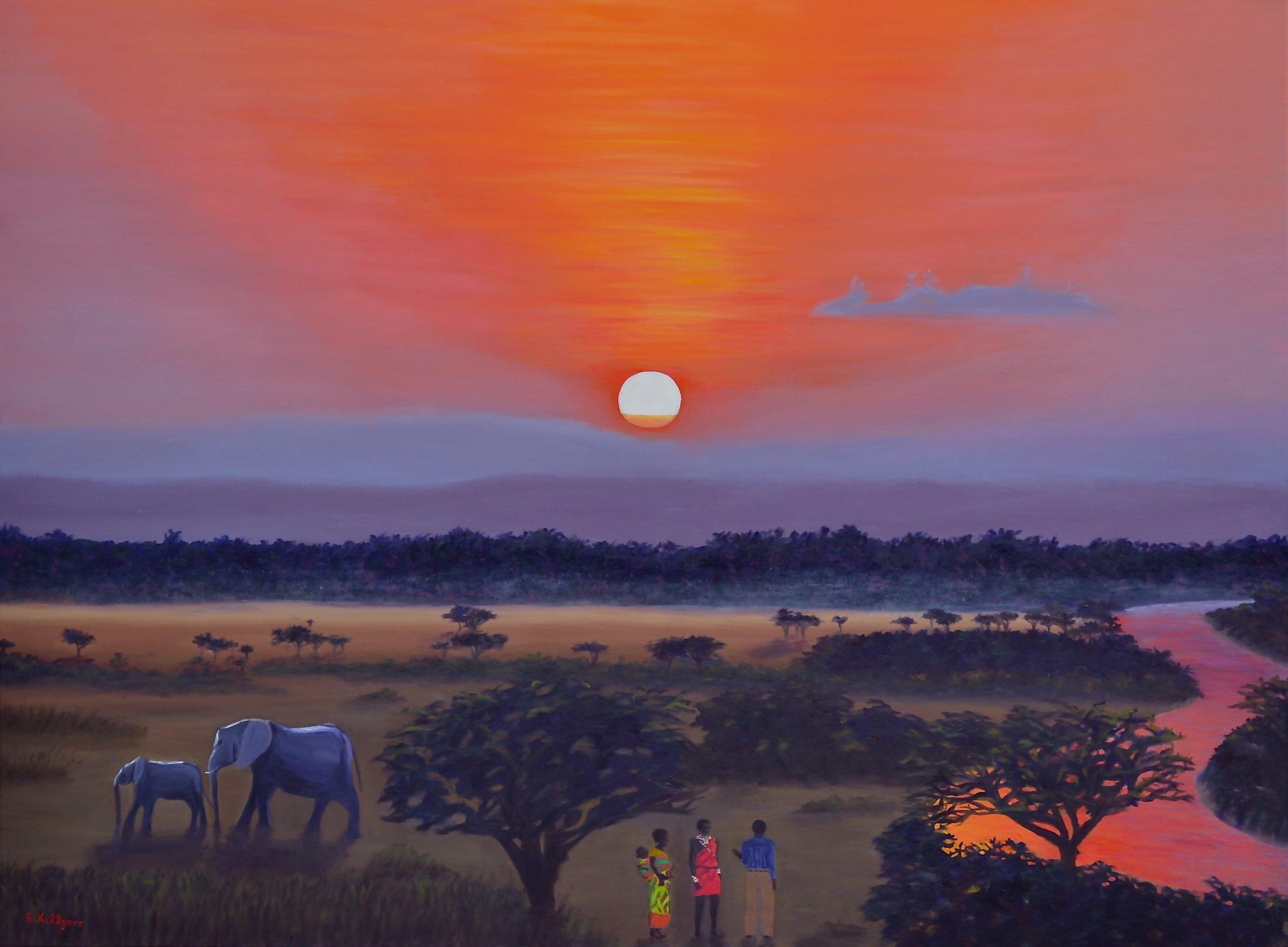 """Serengeti Sunset  30"""" x 40"""""""