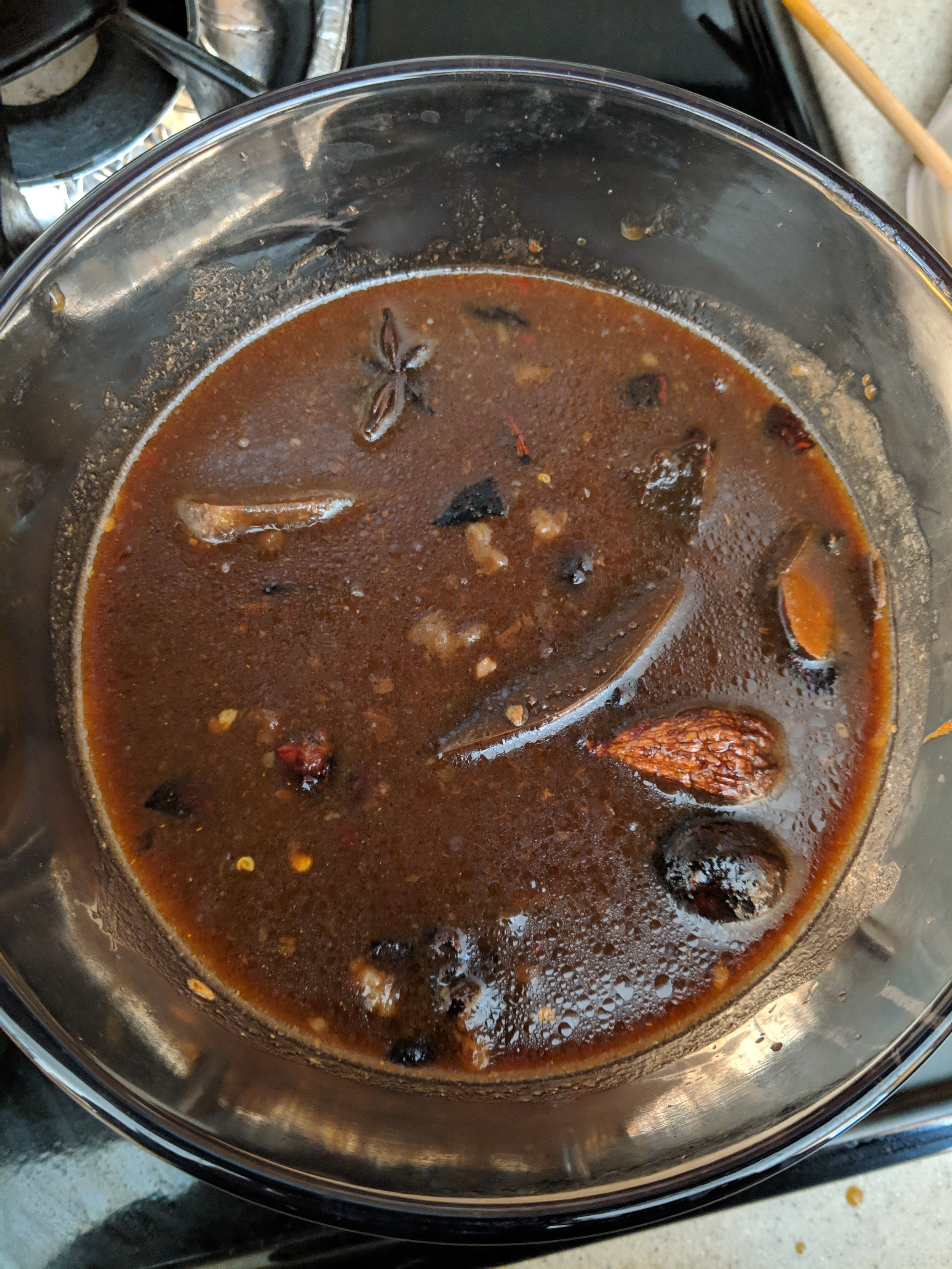This is what the marinade looks like in the pot after boiling.